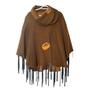 Artisan Poncho Cape Wool Cashmere Leather Rocks OS
